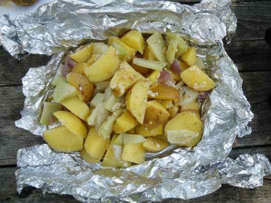 Yukon Gold Potatoes, Kohlrabi, and Onions with Garlic and Butter